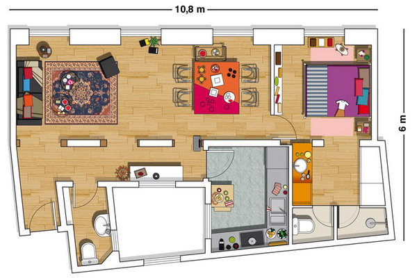 creative-colorful-spanish-apartment-plan, spanish apartment, cheap apartment, rent apartment, small apartment, amrilio.com