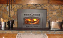 Wood burning fireplace insert with nice fire